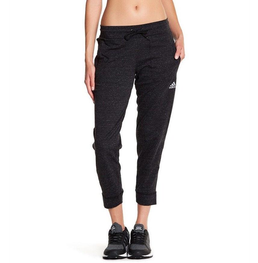 Womens Adidas 3/4 Pants Heathered Black Sweatpants Capri Pan