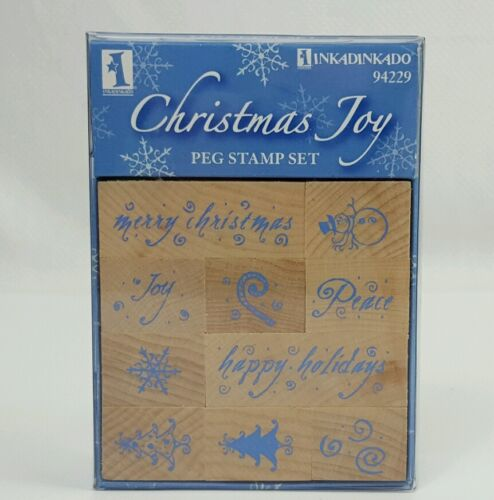 Inkadinkado Holiday Stamp Set 10 Wood Mounted Rubber Stamps
