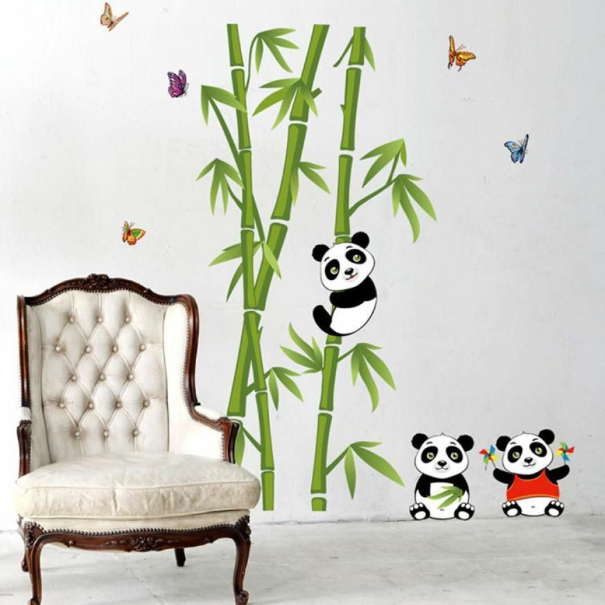 Panda bears and Bamboo 100*90 cm Wall Sticker Decal for Living Room Kids Rooms Children Bedroom Home Decor DIY