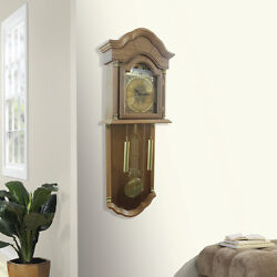Grandfather Wall Clock Hanging Oak Wood Pendulum Westminster Chimes Home Decor