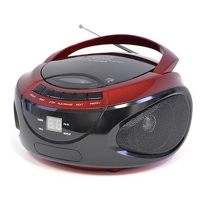 Lloytron N8203 Portable Stereo CD Player With AM/FM Radio LED Display Red - New