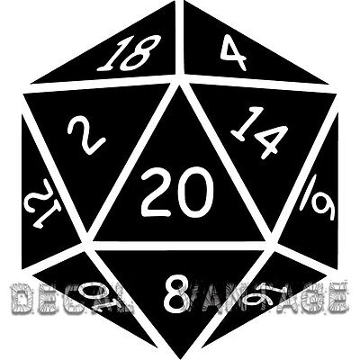 Stickers Dice - 20 Sided Die Vinyl Sticker Decal D20 Dice RPG Gaming LARP - Choose Size & Color