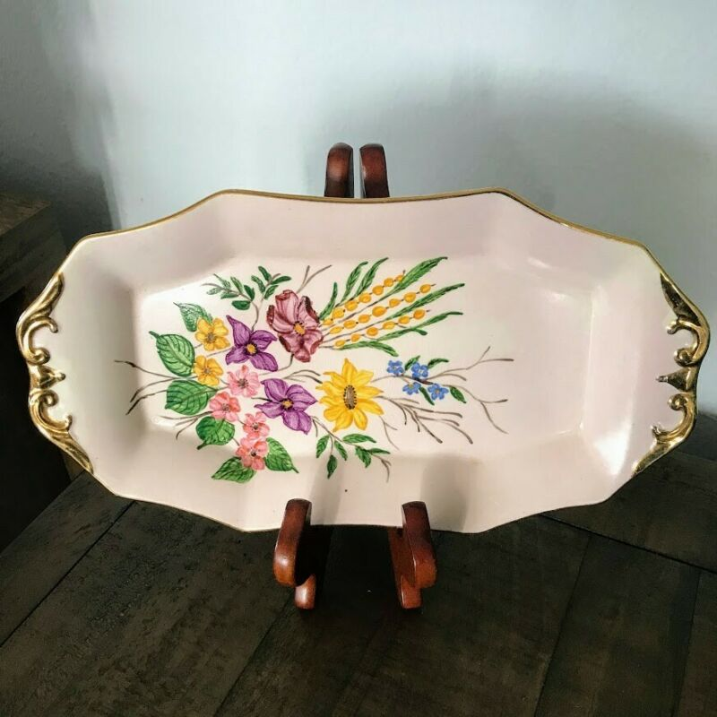 Royal Tudor Ware Barker Brothers England Condiment Plate Flowers