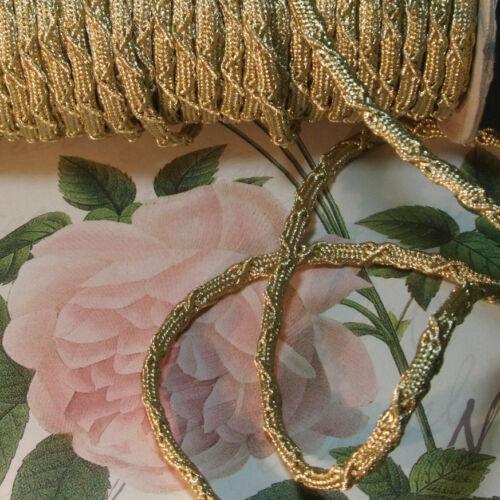 "Antique vtg THICK Gold Metallic Rope Cord Braid Trim Ribbon Pillow Lamps 3/8"""
