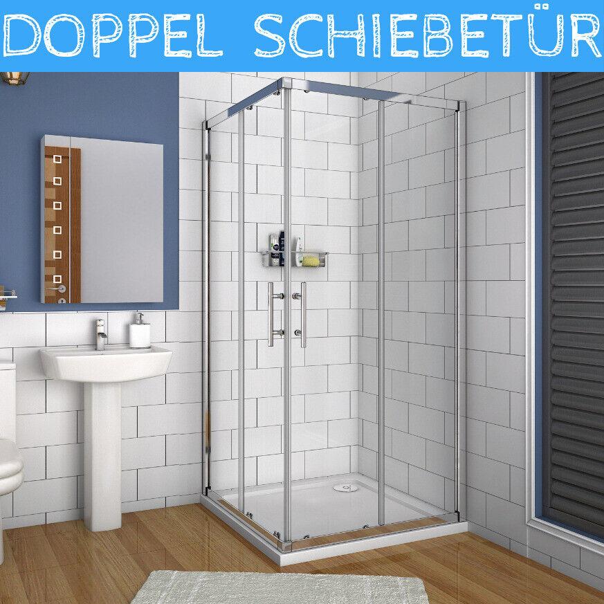 Eckeinstieg Dusche Schiebetür Duschabtrennung Duschwand ESG Echtglas Duschkabine