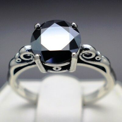 2.37cts 8.61mm Real Natural Black Diamond Ring AAA Grade & $1385 Value.....