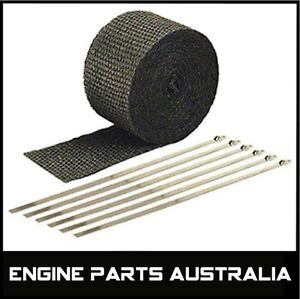 2000F-BLACK-EXHAUST-HEAT-WRAP-50MM-X-7-5M-6-STAINLESS-STEEL-TIES-CAR-BIKE-ETC