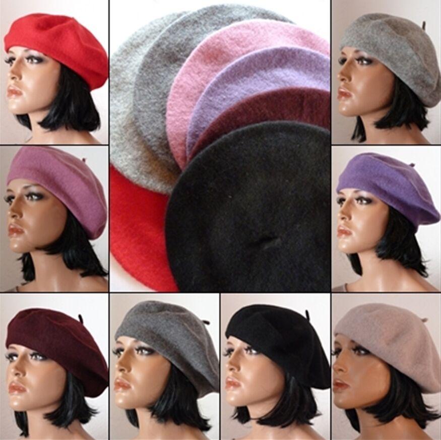 Damenmütze Mütze Baske Baskenmütze Wollmütze Beret Cap Farbauswahl one size