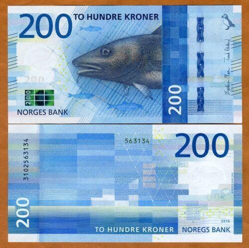 Norway, 200 Kroner, 2016 (2017), P-55, UNC, Redesigned