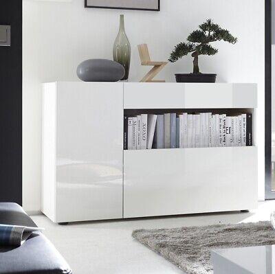 Madia credenza moderna modello Nice bianco laccato lucido con ante e cassetto