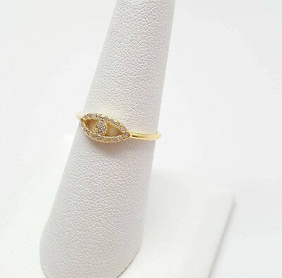 Evil Eye Yellow Gold Plated Cubic Zirconia .925 Sterling Silver Ring Size 4-9 - Eye Rings