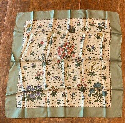 Vintage Scarf Styles -1920s to 1960s Vintage Green Floral Scarf $13.95 AT vintagedancer.com