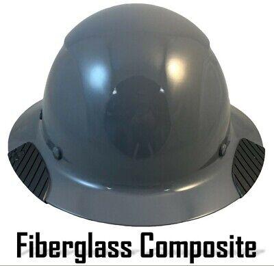 Dax Fiberglass Composite Lift Safety Full Brim Hard Hat - Medium Grey