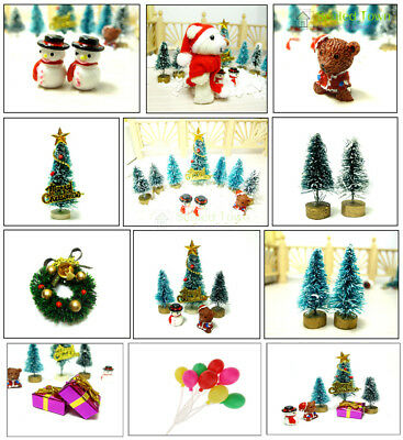 Dollhouse Miniature Christmas Tree Wreath Bear Snowman Gift Box Decor Ornament ()