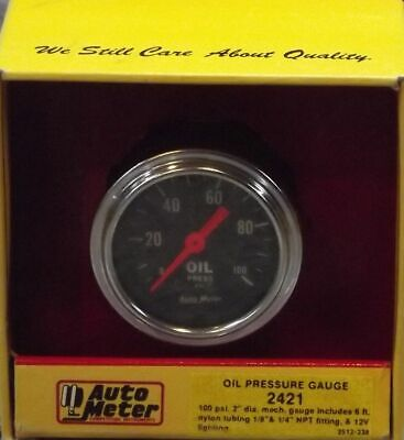 2 Inch Mechanical Oil Pressure Gauge Kit Autogage by AutoMeter 2421 Autometer Autogage Mechanical Oil