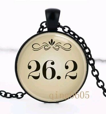MARATHON RUNNER,  26.2 MILES  Cabochon Glass Pendant Black Tone Chain necklace