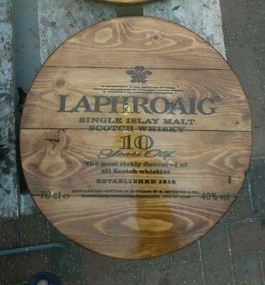 Laphroaig  malt whisky plaque wooden sign  mancave shed bar pub