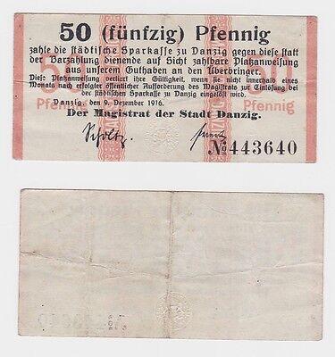 50 Pfennig Banknoten Notgeld Stadtgemeinde Danzig 9.12.1916 (120719)