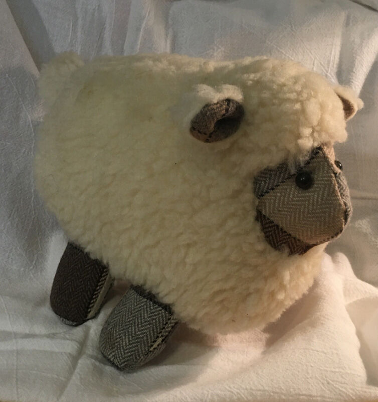 Stuffed Sheep With Wool Accents