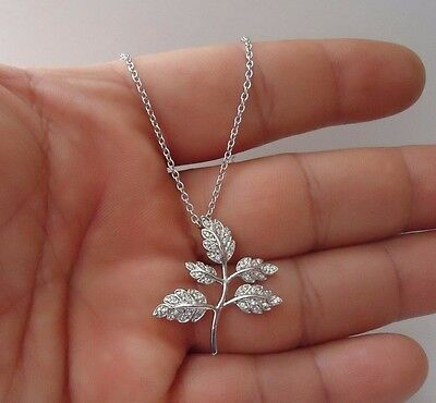 925 STERLING SILVER LEAF BRANCH PENDANT NECKLACE W/ 1 CT ACCENT/ 18''