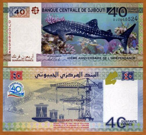 Djibouti, 40 Francs, 2017, P-46, UNC > Commemorative DJ prefix, Shark