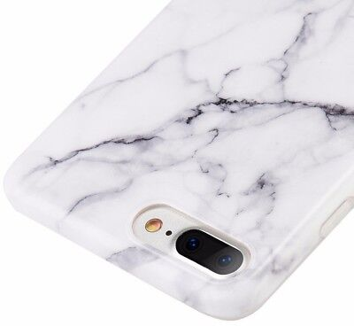 for iPhone 8+ PLUS - Hard TPU Gummy Rubber Case Cover White Marble Stone Pattern - White Gummy