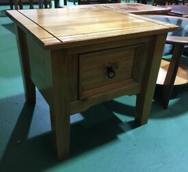 Mexican pine corona lamp side coffee table drawer