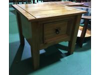 Mexican pine corona lamp side coffee table drawer