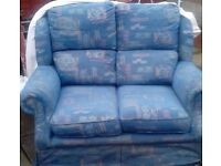 Blue Fabric 3 piece suite with Pattern 2 seater and 2 chairs in good comfortable condition