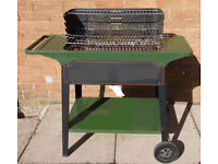 Green Trolley Barbeque, BBQ, Barbecue on wheels, for charcoal use, inclusive listed tools / extras