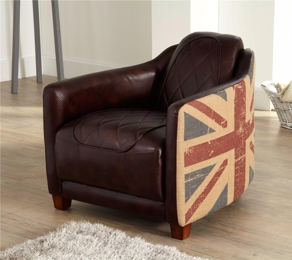 AVIATOR Union Jack Leather Chair