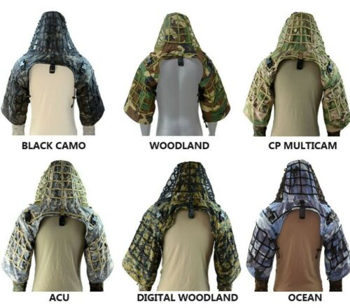 Camouflage Tactical Sniper Coat Viper Hood Ghillie Suit Made From Ripstop Fabric