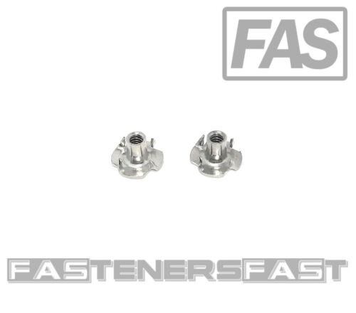 (25) Stainless Steel T-Nut 6-32 x 1/4 (4 Prong)  18-8 - Fast Free Shipping