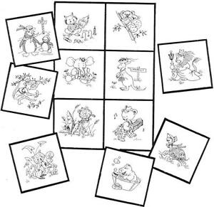 New Hand Drafted Animal Hand Embroidery Baby Quilt Blocks Vintage Designs