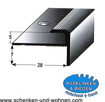 Einschubprofil 5 mm mit Nase 1 m lang Silber matt