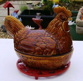 Earthenware Glazed Hen.