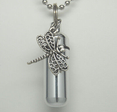 DRAGONFLY CREMATION JEWELRY DRAGONFLY URN NECKLACE CYLINDER MEMORIAL KEEPSAKE
