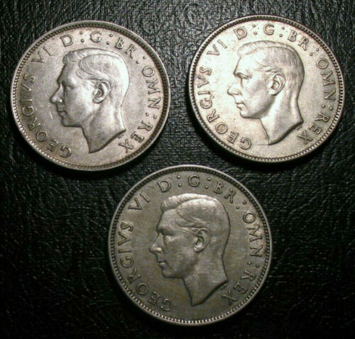 TWO SHILLINGS UNITED KINGDOM BRITISH SILVER 3 COIN 1942 1944 1945