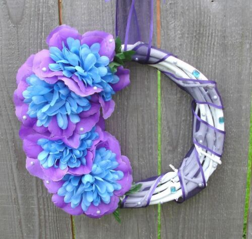 Handmade White Blue & Purple Floral Grapevine Wreath Small Asymmetrical 11""