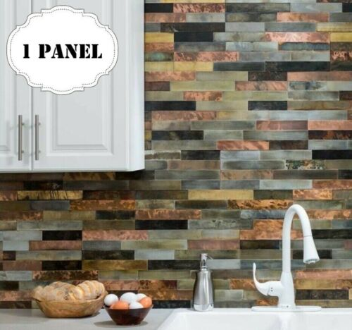 Peel And Stick Tile Self Adhesive Metal Wall Bath Kitchen Backsplash Copper Gold