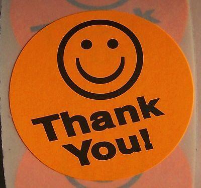 500 Orange Big Thank You Smiley Label Sticker Best Price 1 12 Round