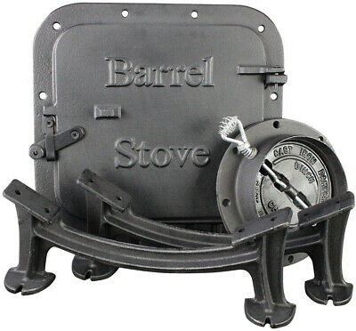 Barrel Stove Kit Door Leg Steel Drum Wood Heater Fireplace Converter Cast Iron - Fireplace Door Kit