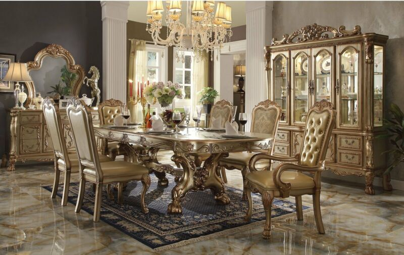 "Dresden 108"" Double Pedestal Dining Room Set Table&chair Gold Patina Carved Wood"