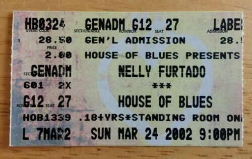 Nelly Furtado Concert Ticket Stub House Of Blues New Orleans Louisiana 3/24/2002
