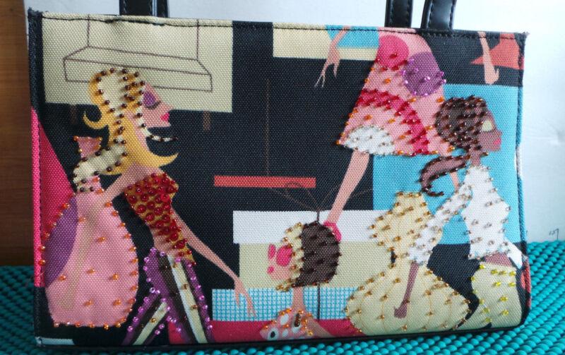 Purse, Art Print,Beaded Canvas ,Stylish Women, Black&White Checked Lining Fabric
