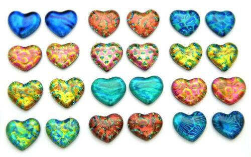 SMALL HEART Lot of 24 pcs handmade DICHROIC earrings FUSED GLASS (Bi11) cabs