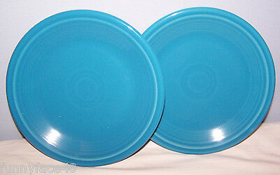 NEW FIESTAWARE SET OF 2 PEACOCK BLUE  SALAD PLATES FIESTA RETIRED COLOR