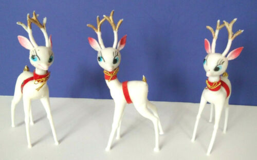 VINTAGE LOT OF 3 CHRISTMAS REINDEER WHITE PLASTIC BLUE EYES GOLD GLITTER TAILS