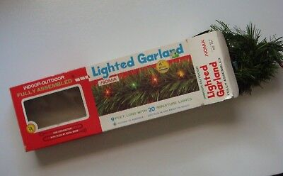 NOMA Indoor Outdoor Lighted Double End 9' Green Faux Pine Garland w/ Extra Bulbs for sale  Titusville