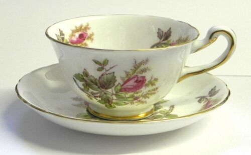 "Royal Chelsea ""Moss Rose"" Cup and Saucer English Bone China"